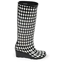 17p Ladies Black Wedge Welly Wellington Boots Size 3-8