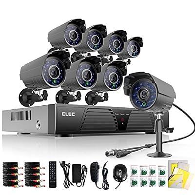 Elec® 8 Channel HDMI CCTV Dvr Home Video Surveillance Security Systems H.264 DVR 8 CMOS 480TVL 65-Feet IR Outdoor Bullet Cameras (Black) No Hard Drive