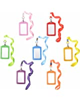 Cosmos ® 7pcs Vertical Style Assorted Color Faux Leather Business Id Credit Card Badge Holder Clear Pouch Case with Long Neck Strap Band Lanyard (31 Inch Full Round Length)