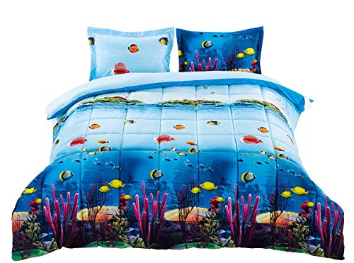 3 Piece Box Stitched 3d Ocean Corals Prints Comforter Set (D07) (Queen) Queen