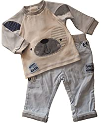 3-6 months - Baby Boys Cute Light Cream Blue & Grey Puppy Dog Face Long-sleeved Top and Micro-corduroy Trousers Outfit by Rock a Bye Baby