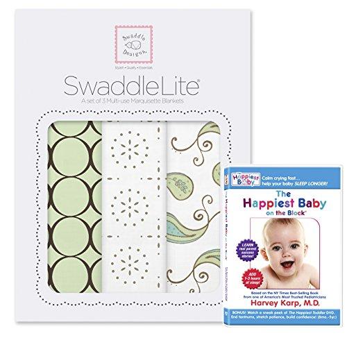 SwaddleDesigns SwaddleLite 3pack Plus The Happiest Baby DVD Bundle, Modern Lite, Kiwi