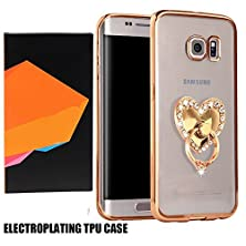 buy Samsung S7 Rubber Plating Tpu Case-Superstart Soft Slim Clear Tpu Cover For Samsung Galaxy S7 With 360 Degree Rotating Ring Stand(Gold+White Heart)