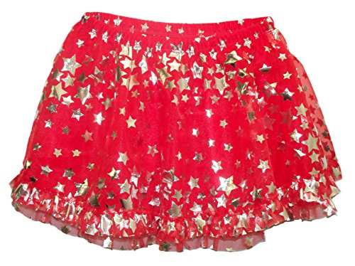 Girls 4th of July Red with Silver Stars Baby & Toddler Tutu Skirt