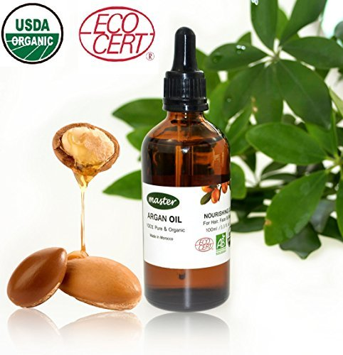 Master Master? 100% Pure Argan Oil for Hair Body and Skin,Virgin Moroccan Argan Oil ECO USDA Organic Certificate, Moisturizer for Hair Condition