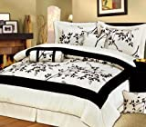 Buy Low Priced 7 Pieces Light Beige and Black Luxury Bamboo Branch Comforter/bed-in-a-bag Set Queen Size Bedding – Bargain Shopping