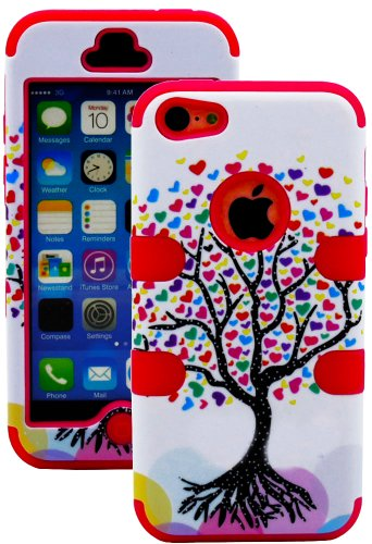 Mylife (Tm) Electric Crimson + Colorful Tree Of Hearts 3 Layer (Hybrid Flex Gel) Grip Case For New Apple Iphone 5C Touch Phone (External 2 Piece Full Body Defender Armor Rubberized Shell + Internal Gel Fit Silicone Flex Protector + Lifetime Waranty + Seal
