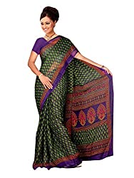 LOVELY LOOK Purple & Green Printed Saree
