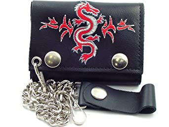 Tribal Dragon Embroidered Leather Chain Wallet #36