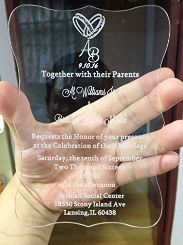 BESTLIFE acrylic wedding invitations sample(165mmx114mmx2mm)