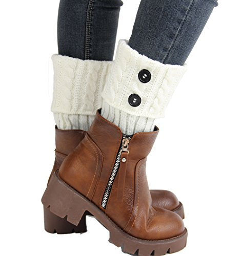 Menglihua Womens Knit Twist Turn-Over Buttons Boot Socks Topper Cuff Leg Warmers White One Size (White Fluffy Leg Warmers)