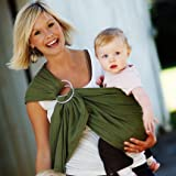51tYm5ExwwL. SL160  MAYA WRAP Lightly Padded Baby Ring Sling Carrier (OLIVE GREEN  Medium)