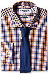 Nick Graham Everywhere Men's Nick Graham Men's Mini-Gingham Dress Shirt with Solid Tie, Orange Gingham, 15.5