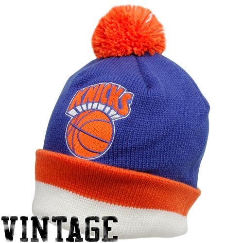 NBA Mitchell & Ness New York Knicks Royal Blue Vintage Jersey Stripe Cuffed Knit Beanie (Nba Jersey New York Knicks compare prices)