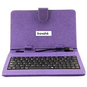"""Purple Carrying Leather Case of USB Keyboard for 7 """" Inch Tablet Pc Replacement Can Stand (Tablet Have to Be Compatible with OTG Function)"""