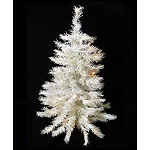 #!Cheap 4.5' Pre-Lit White Artificial Christmas Tree - Clear Lights