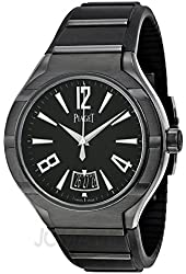 Piaget Polo FortyFive Automatic Black Dial Rubber Mens Watch G0A37003