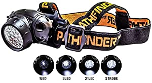 PATHFINDER 21 LED Headlamp Headlight - Water-resistant. 4 Modes Of Operation, Head Safety, Lamp, Flash Light, Torch For Cycling, Climbing, Mountain Biking, Camping, Night Reading. Adjustable Beam Angle. 100,000 Hours LED lifetime (in RETAIL PACKAGING) by