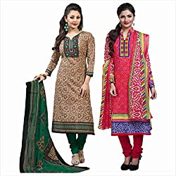 Rajnandini Combo of cotton Printed Unstitched salwar suit Dress Material (Green & Pink_Free Size)