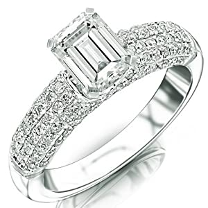 2.05 Carat Emerald Cut / Shape 14K White Gold Contemporary Five Row Modern Pave Diamond Engagement Ring ( J Color , SI1 Clarity )