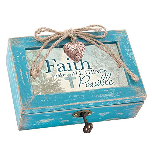 Faith Makes All Things Possible Teal Wood Locket Jewelry Music Box Plays Tune Amazing Grace 0