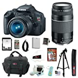 51tYxqabtNL. SL160  Canon EOS Rebel T3i 18 MP CMOS Digital SLR Camera with EF S 18 55mm f/3.5 5.6 IS II Zoom Lens & EF 75 300mm f/4 5.6 III Telephoto Zoom Lens + 11pc Bundle 16GB Deluxe Accessory Kit