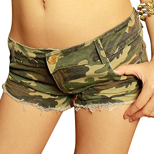 Donne Jeans vita bassa Hot pants elastici pantaloncini Denim ( Camuffamento EU M )