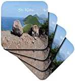 3dRose image of St Kitts Island with Mediterranean and Atlantic Oceans - Soft Coasters, Set of 4 (cst_223507_1)
