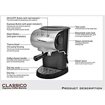 Tecnora Classico TCM 106 M Thermoblock Pump Espresso and Cappuccino Coffee Maker