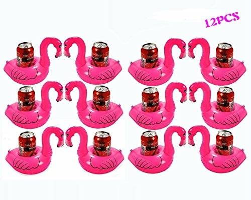 GZNIGHT Inflatable pool Flamingo Coasters Cool Outdoor Swimming Bath kiddie toys Water Floating Coke Cup Drink Holder Flotation Devices Luau Tropical Party Decorations Swim Floats Pink (12 Pieces)