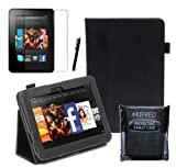 Black Executive Multi Function Standby Case for the New Kindle Fire HD 7&quot; Tablet 16GB or 32GB  with Built-in Magnet for Sleep / Wake Feature and Stylus Loop Holder + Screen Protector + Capacitive Stylus Pen
