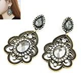 Cinderella Collection by Shining Diva Alluring Golden & Gray Crystal Hanging Earrings for Women 6969er
