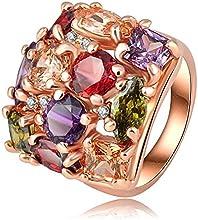 Comprar AnaZoz Joyería de Moda Colorido Anillo Cristal 18K Chapado en Oro Rosa Anillos de Mujer 22*21mm