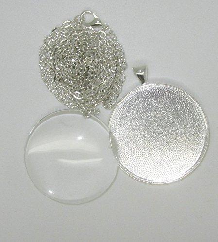 Bastel Express-2medaglioni rotondi 33mm con cristalli di vetro, occhielli, collane e adesivo Cabochon Covers 30mm per DIY gioielli argento confezione da 2