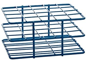Bel-Art Scienceware 187882001 Steel Poxygrid Half Size Wire Test Tube Rack 18-20mm Tube, 20 Place, Blue