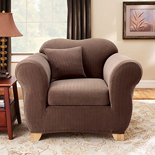 SURE FIT Stretch Pinstripe 2-pc. Chair Slipcover
