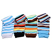 juDanzy Blue Boy Stripes baby leg warmers 4 pack for babies, toddlers and children,12 inches long,one size