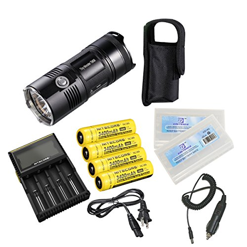 Nitecore Tm06 Flashlight Smallest And Lightest 3800 Lumens Cree Xm-L2 U2 Leds Double Button Waterproof U-Shaped Tailcap Aerospace Grade Aluminum Alloy Flashlight(Nitecore Tm06 Flashlight+D4 Charger+Car Charger+4*Nl189 Batteries+2*Battery Boxes)
