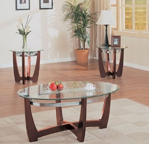 3Pcs Brea Contemporary Oval Coffee & End Tables Set front-1027130