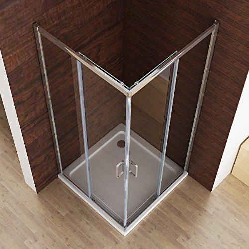 Dusche Eckeinstieg 100X100 : 195cm Duschkabine Dusche Duschwand Schiebet?r Eckeinstieg Echtglas