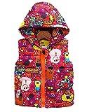 ナナコレクション Nana_Collection 秋 キッズ 子供 キュート pop 柄 フード 中綿 ジップアップ ダウン ベスト ピンク 100cm
