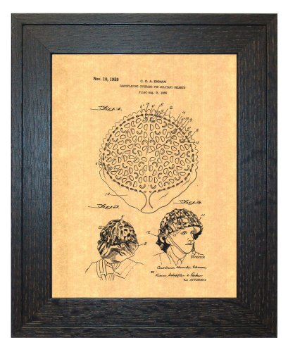 "Camouflaging Covering For Military Helmets Patent Art Print in a Rustic Oak Wood Frame (8.5"" x 11"")"