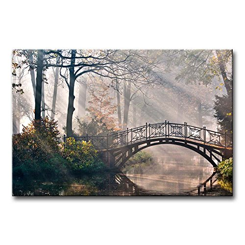 Canvas Print Wall Art Painting For Home Decor Tranquil Autumn Forest With River Bridge And Morning Light Rays Sunshine In The Netherlands Paintings Modern Giclee Stretched And Framed Artwork The Picture For Living Room Decoration Landscape Pictures Photo Prints On Canvas (Tranquil Pictures compare prices)