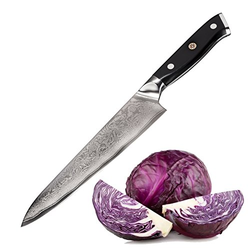 """Bruntmor TOKUSO Japanese Damascus 8"""" Chef's Knife VG10 Razor Sharp 67 Layers High Carbon Steel with Triple Riveted Handle, Gift"""