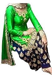 Ninecolours Women's Georgette Patiala Suit Dress Material (SM0820109_Green)