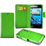 ONX3 (Green) Acer Liquid Z110 Super Thin Faux Leather Wallet Flip Suction Pad Skin Case Cover With Credit / Debit Cards Slot