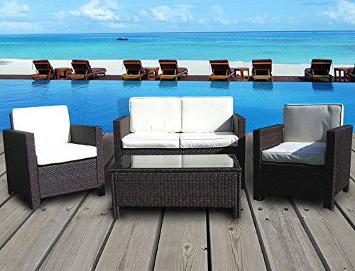 Miami Beach Collection - 4 Pc Outdoor Rattan Wicker Sofa Sectional Patio Furniture Set (Mixed Brown / Ivory Cushions)