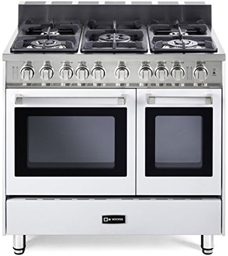 "Verona Vefsgg365Dw 36"" Freestanding Double Oven Gas Range In White"