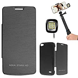 DMG Premium Diary Flip Book Cover Case for Intex Aqua Star II HD (Black) + 3.5mm Continuous LED Spotlight Flash