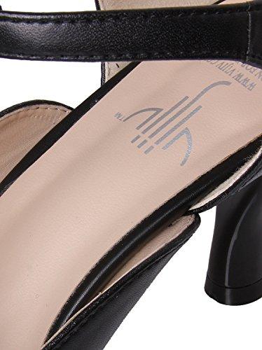 Vijiv Women's Teardrop Cut Out T-Strap Mid Heel Dress Pumps 6